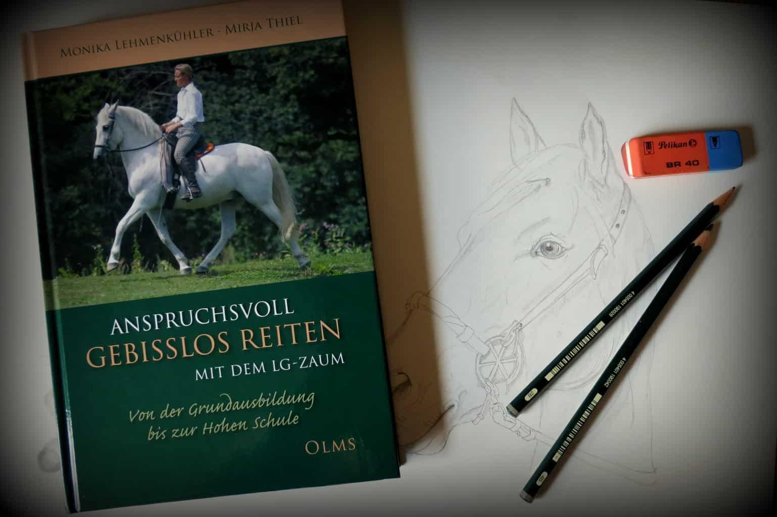 """Buch Olms-Verlag LG-Zaum neben einer begonnenen Zeichnung """"Pferd mit LG-Zaum"""" von Monika Lehmenkühler"""