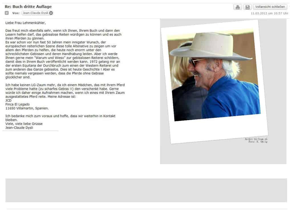 E-Mail von Jean Claude Dysli