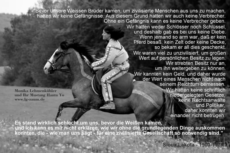 Mustang mit Reiter Zitat-Sioux Lakota