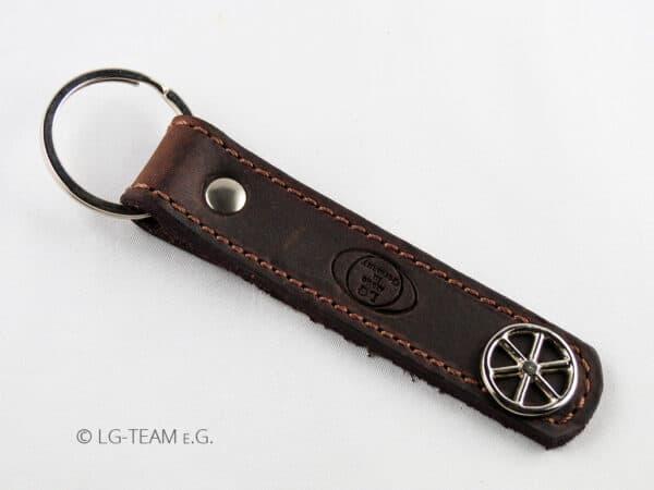 LG Schlüsselanhänger braun Leder Logo Glücksrad