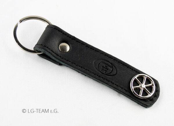 LG Schlüsselanhänger schwarz Leder Logo Glücksrad